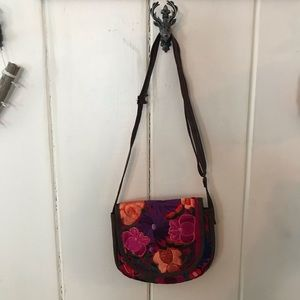 Handbags - Floral embroidered faux leather crossbody bag